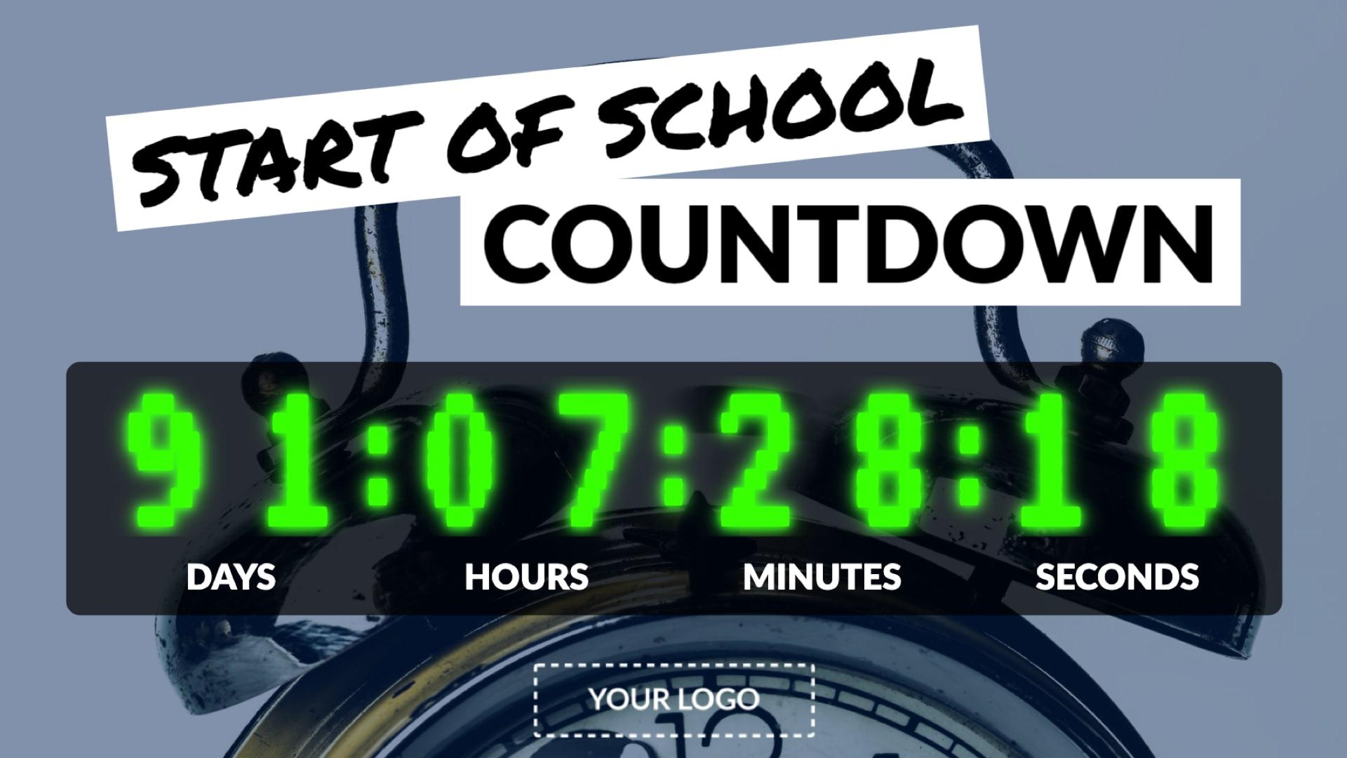 Start of School Countdown Digital Signage Template