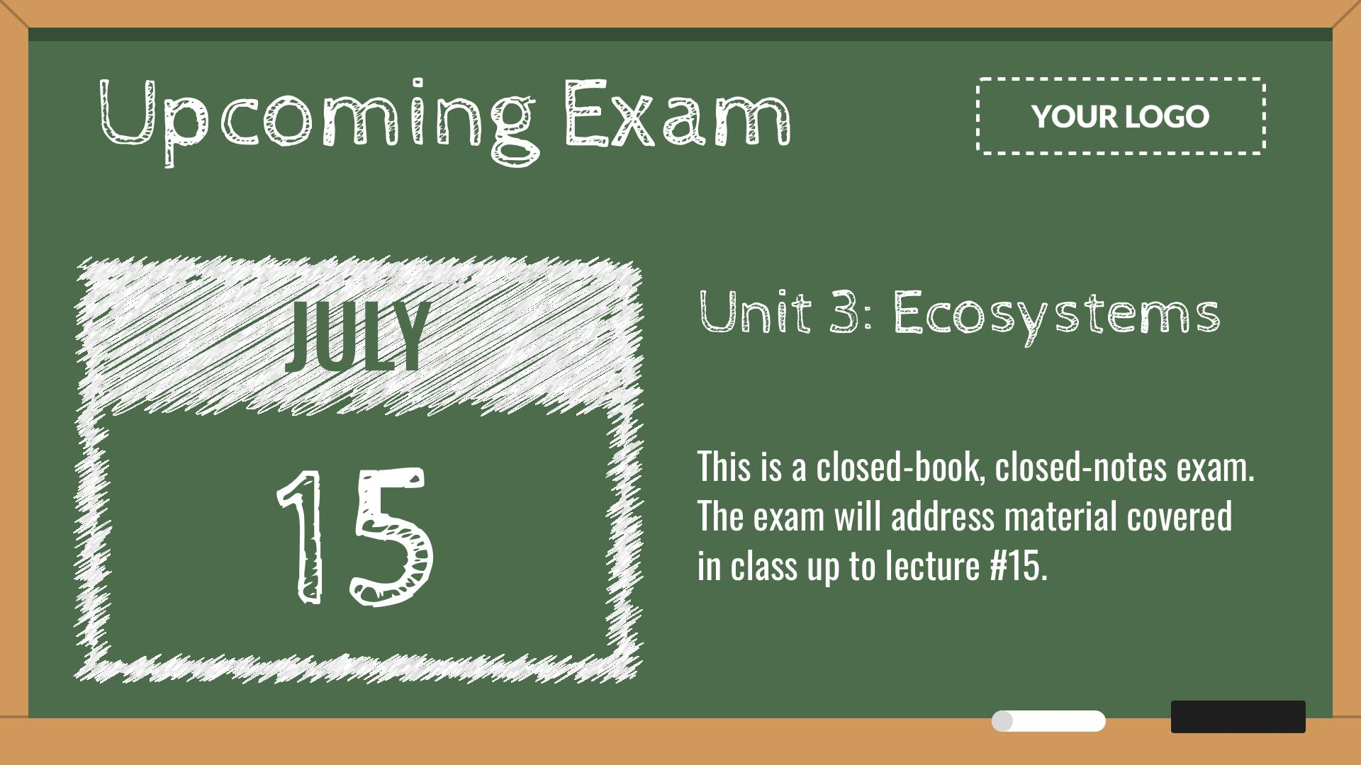 Upcoming Exam Digital Signage Template