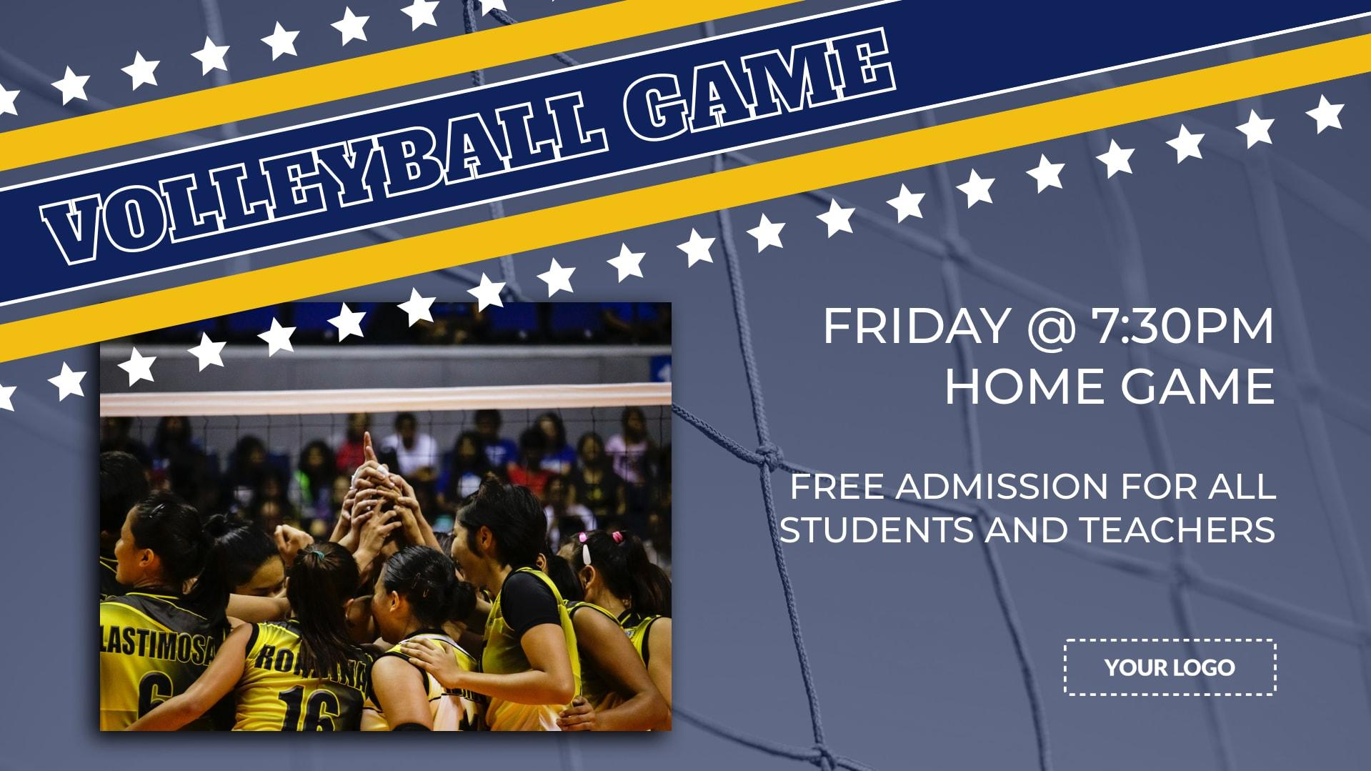 Volleyball Game Digital Signage Template
