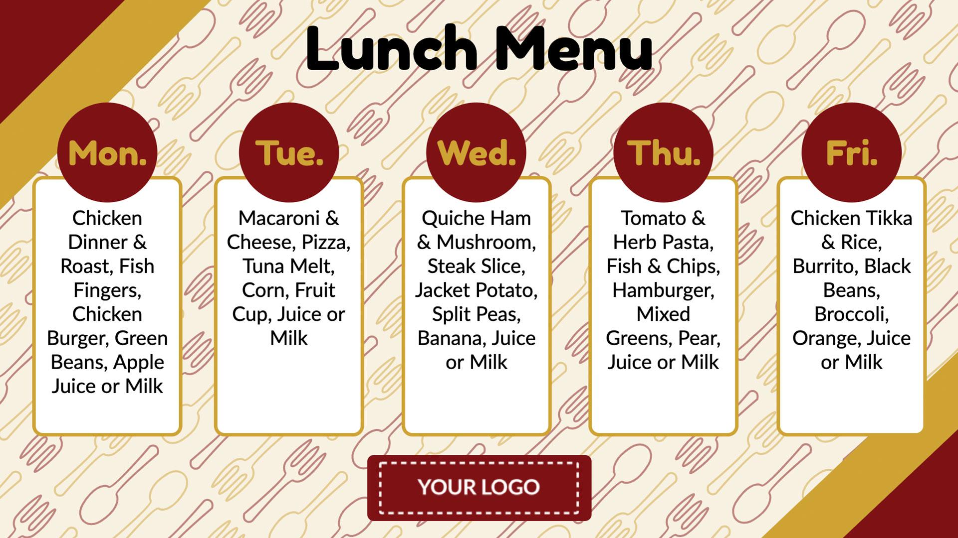 Weekly Lunch Menu Digital Signage Template
