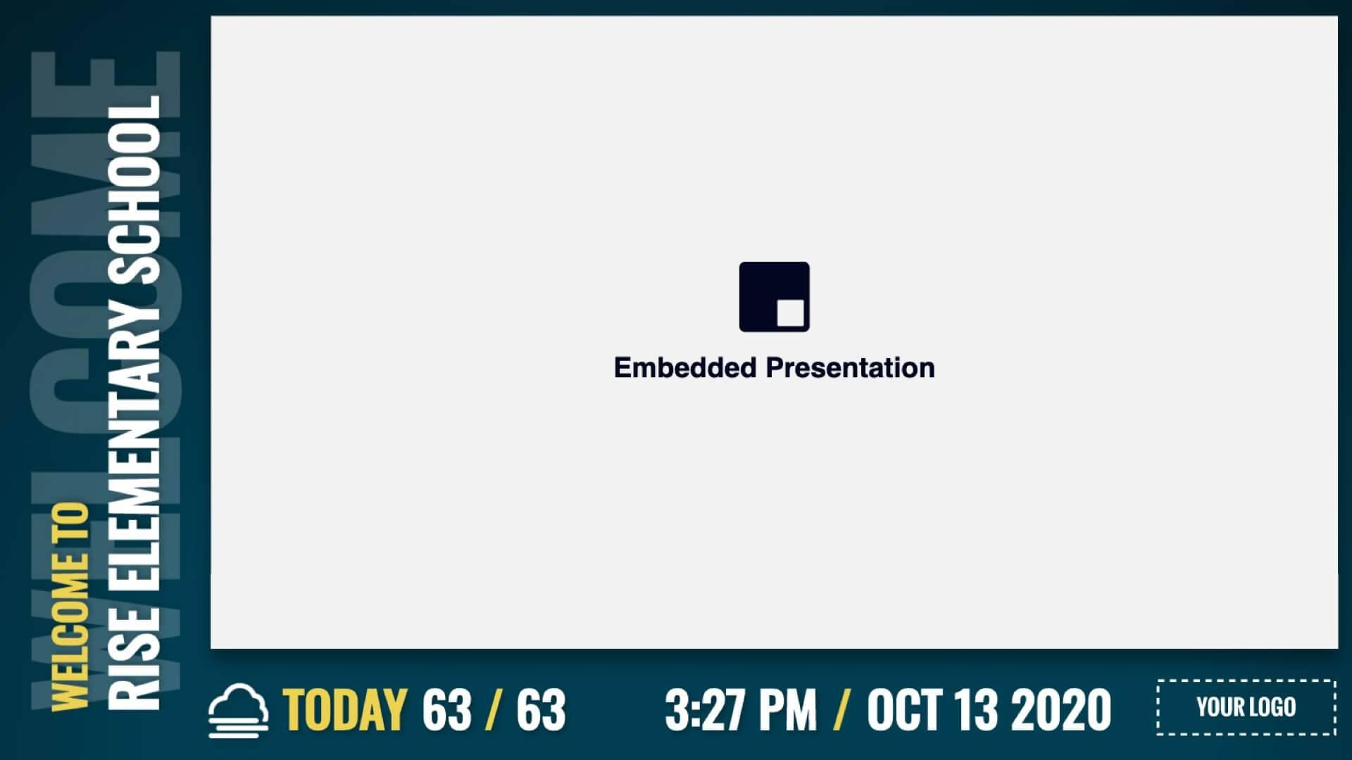 Zoned Minimal Embedded Welcome Digital Signage Template