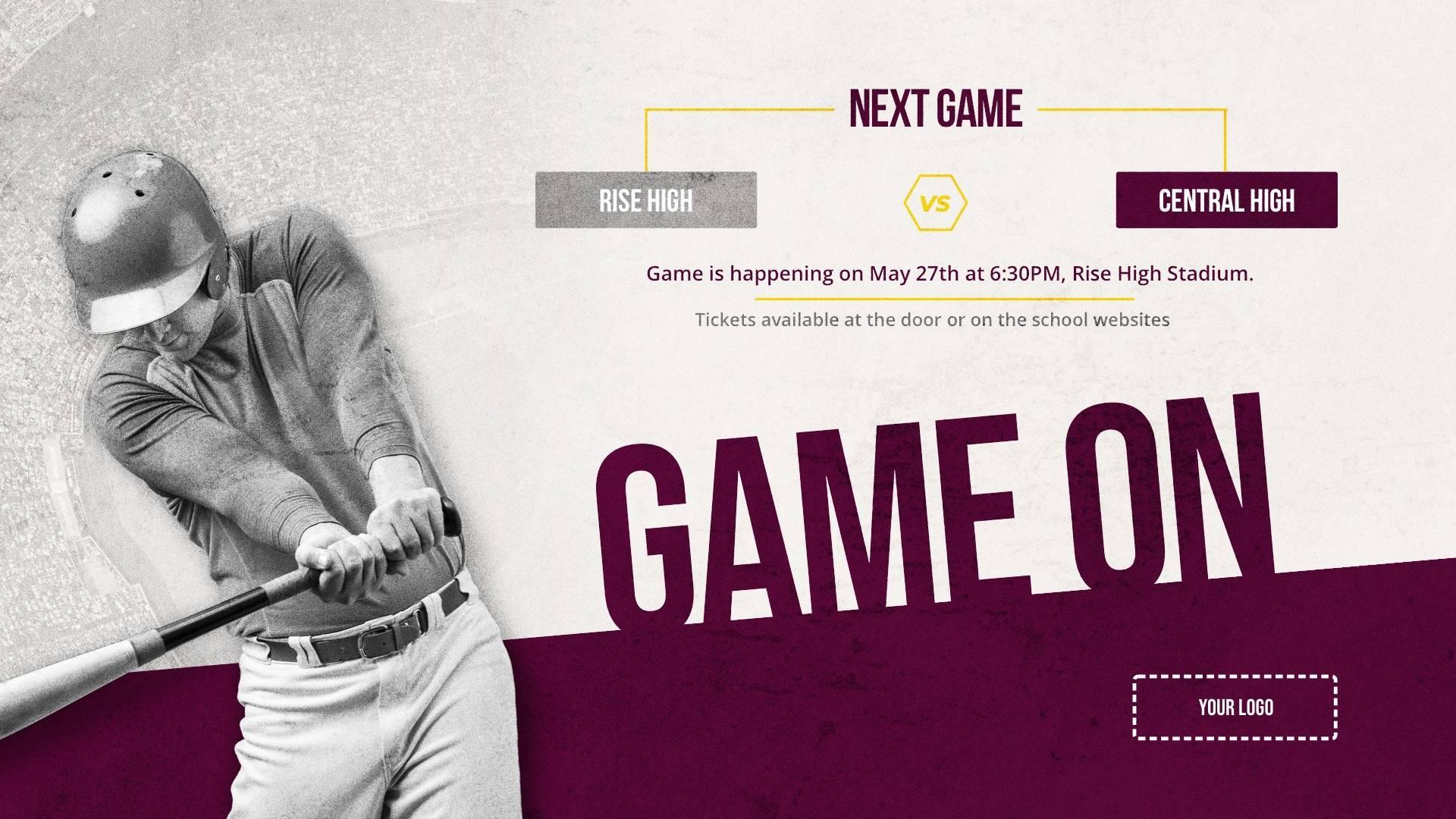 Baseball Game - Sports Digital Signage Template