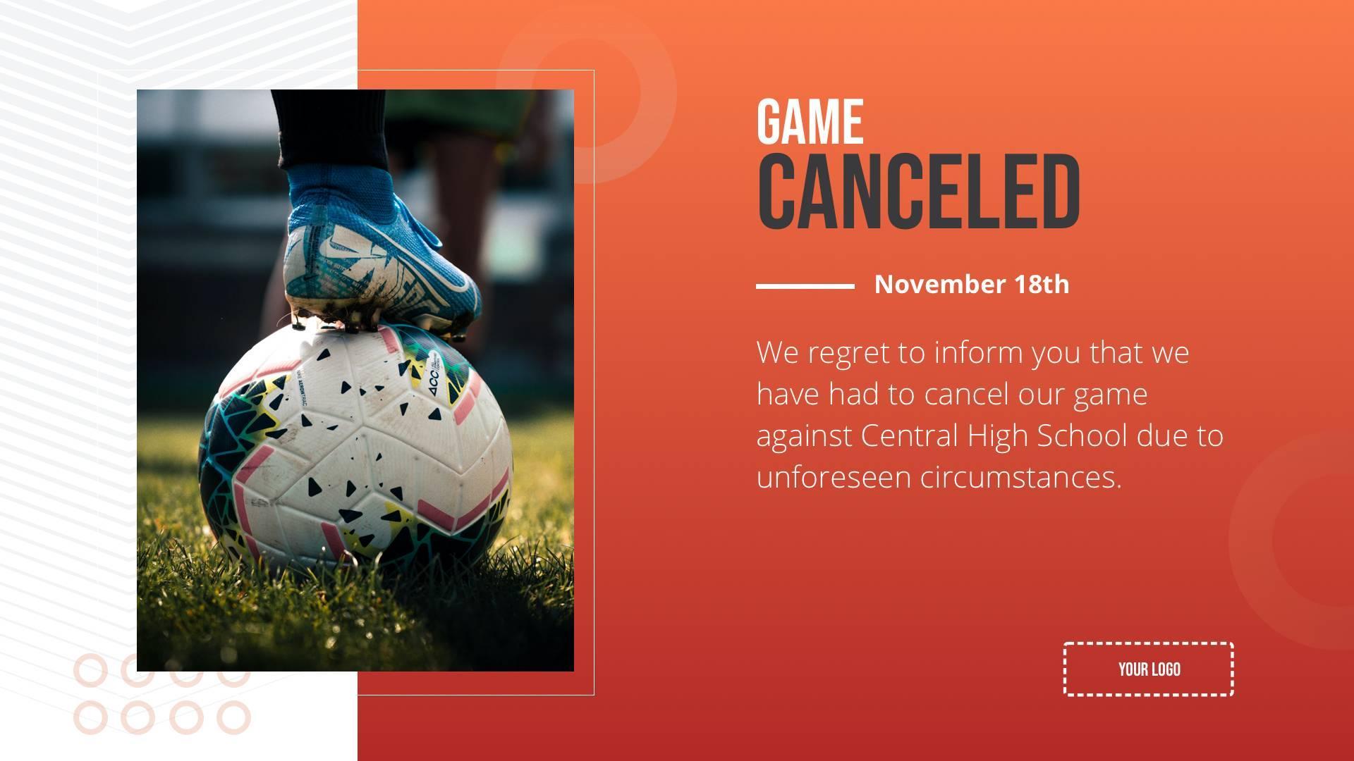 Game Canceled Digital Signage Template