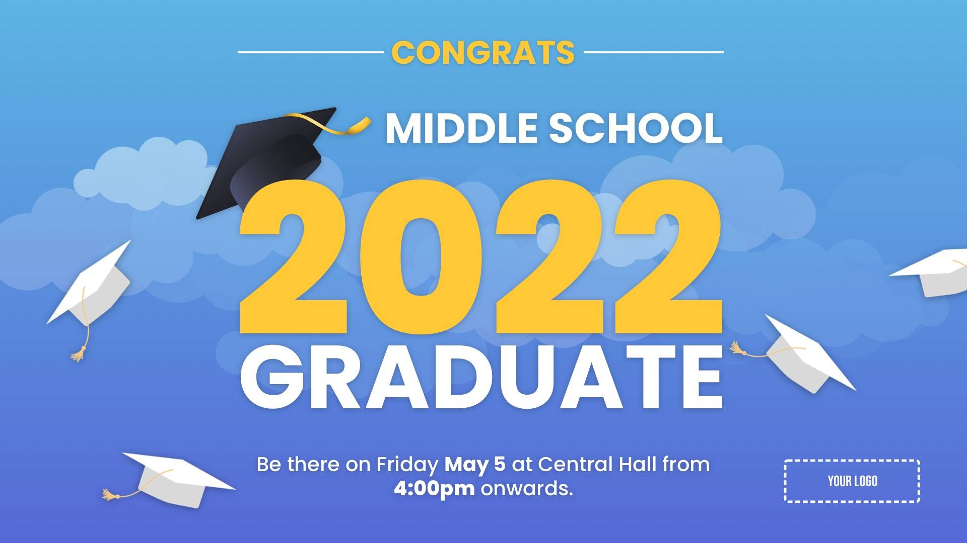 Graduation Announcement Digital Signage Template