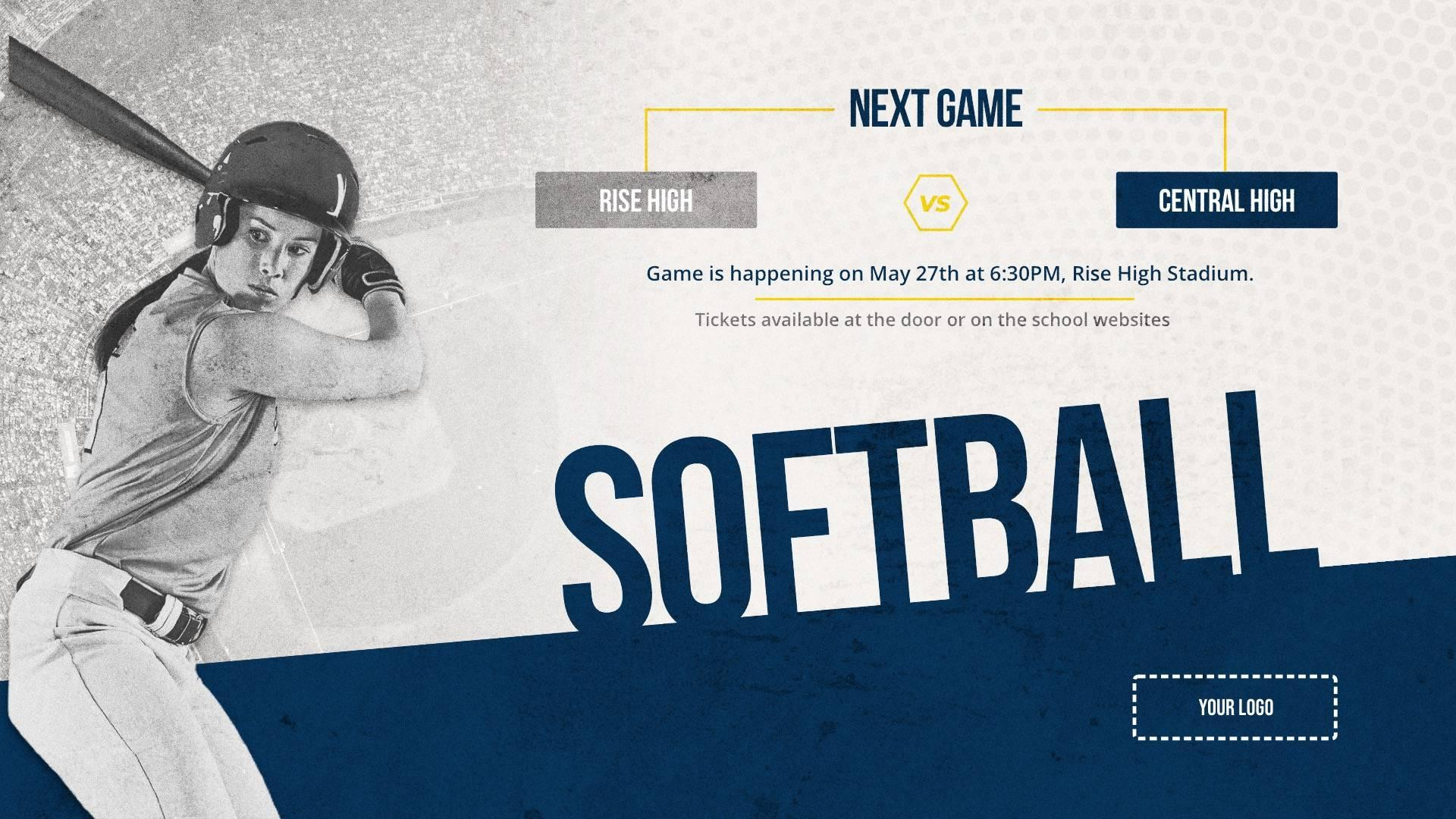 Softball Game - Sports Digital Signage Template