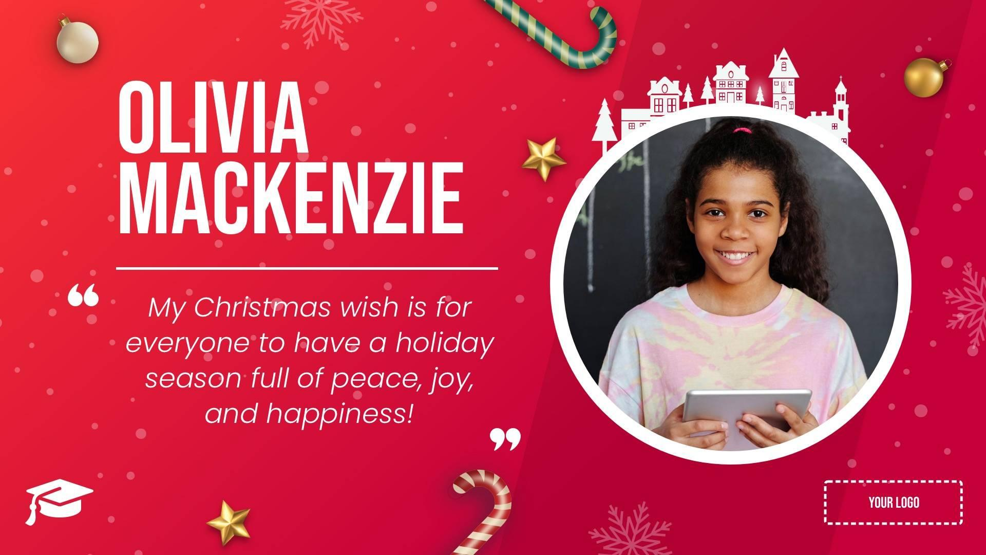 Holiday Student Wishes Digital Signage Template