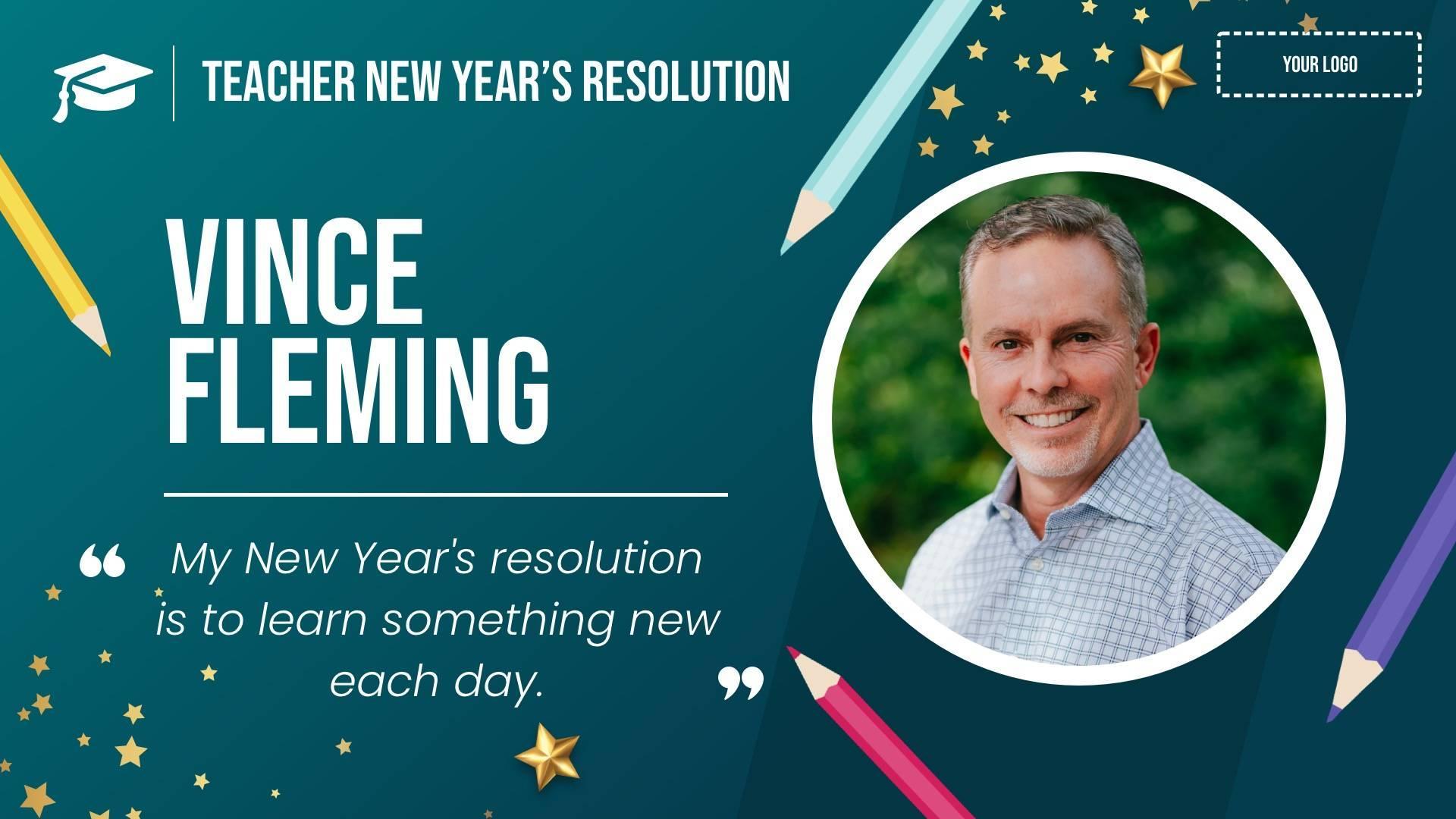 New Year's Teacher Resolution Digital Signage Template