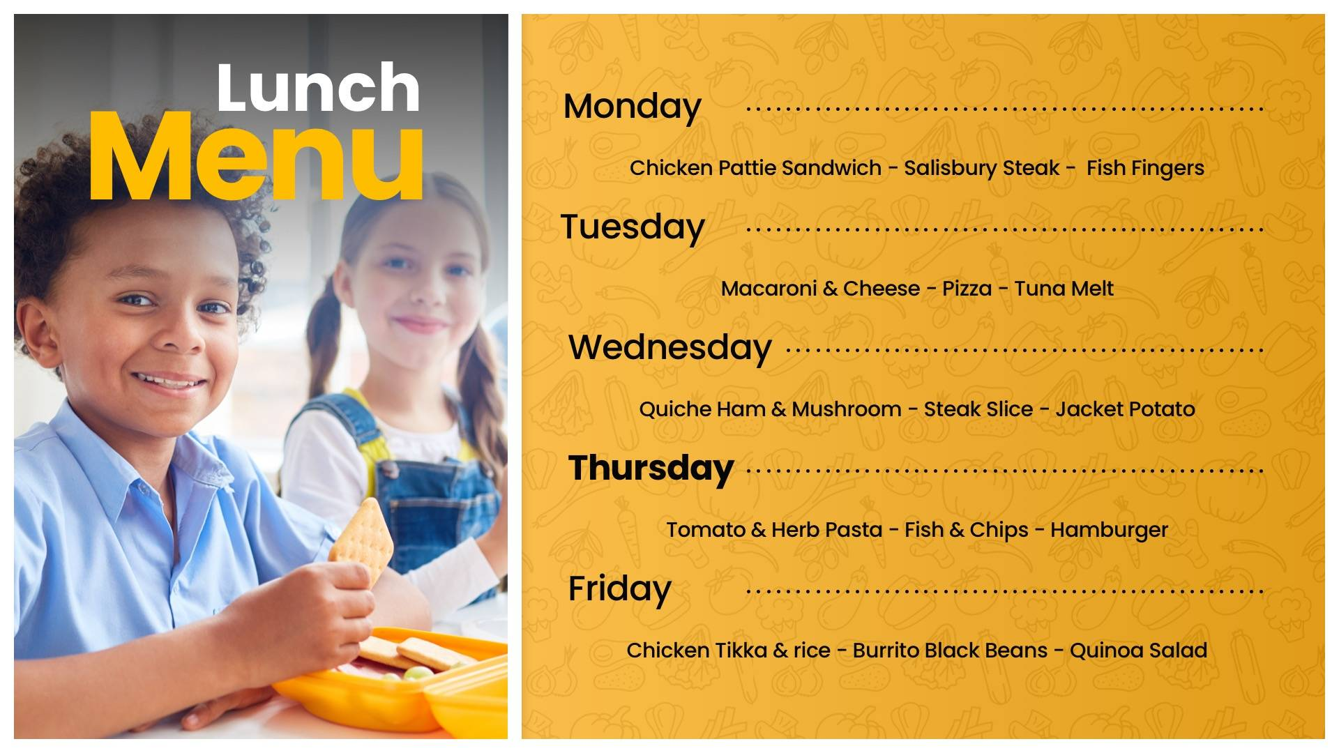 Weekly Lunch Menu List Digital Signage Template