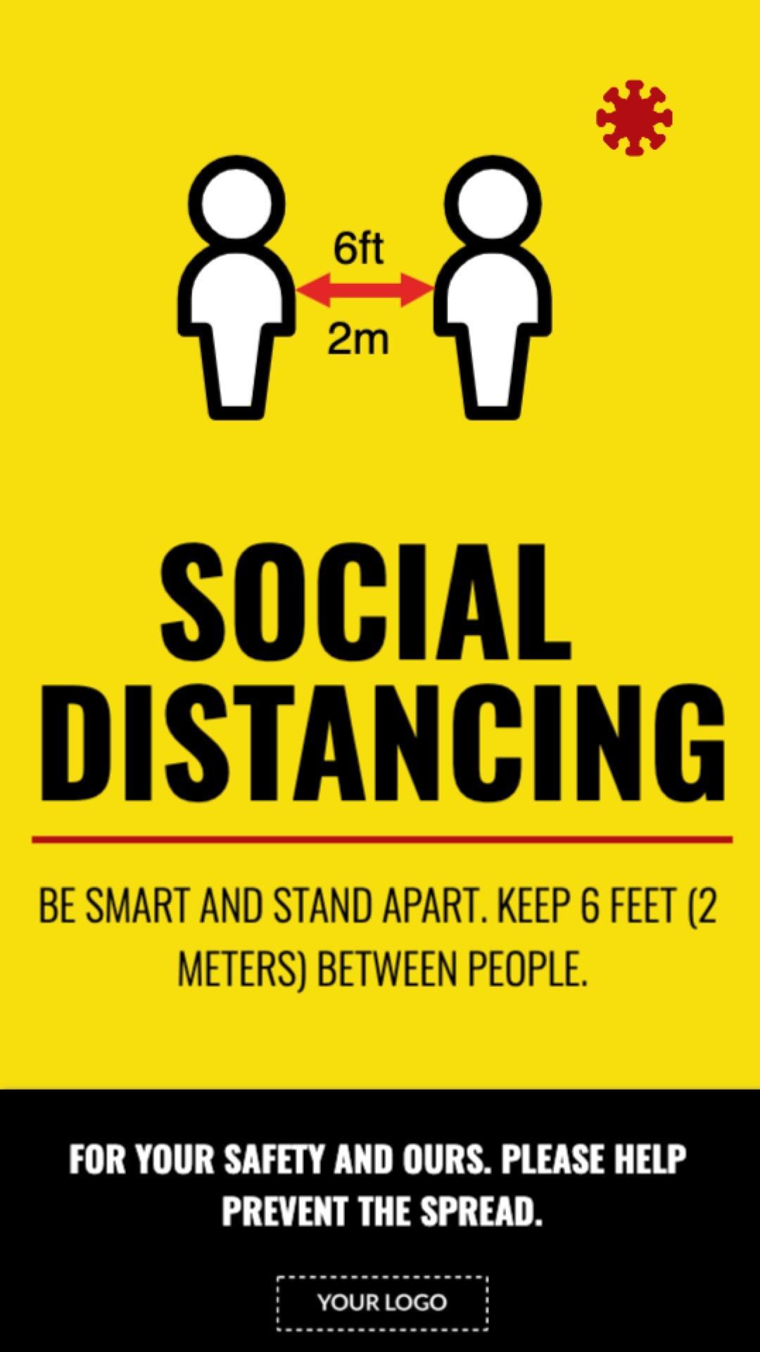 Campaign Social Distancing Text Portrait Digital Signage Template