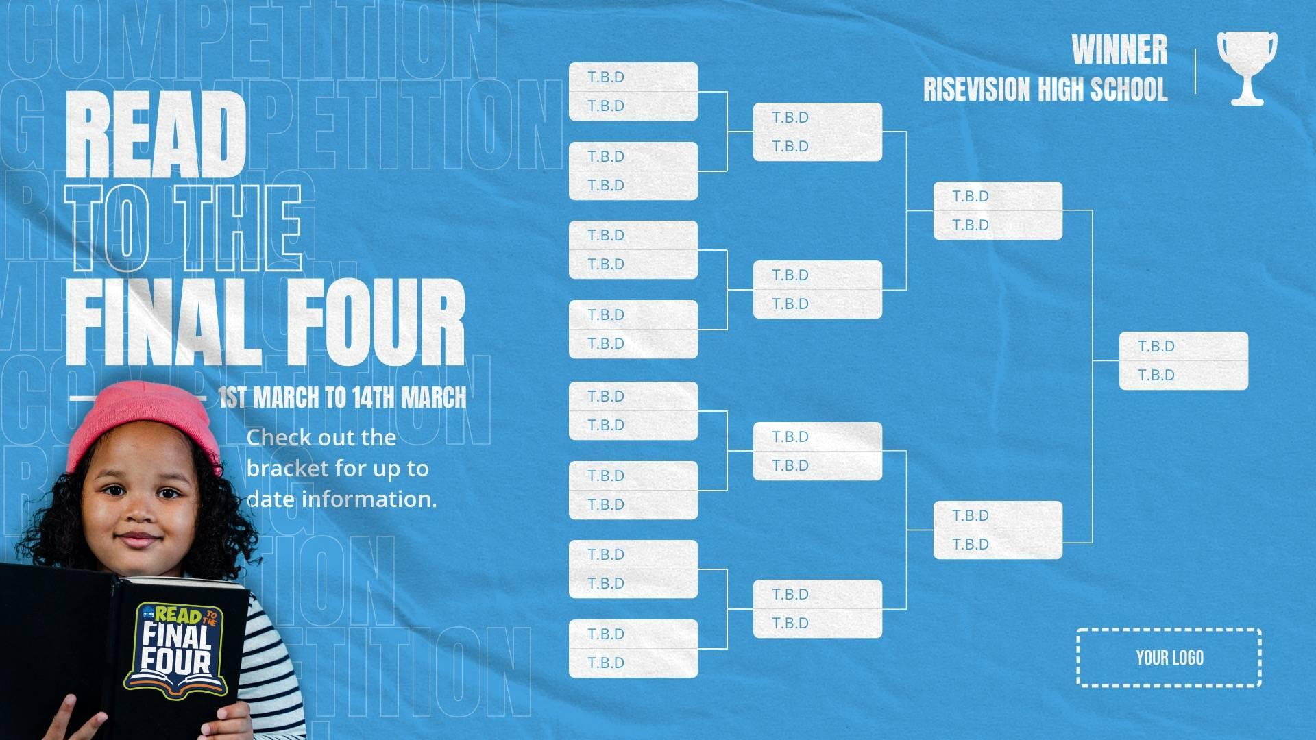 Read to The Final Four Bracket Digital Signage Template