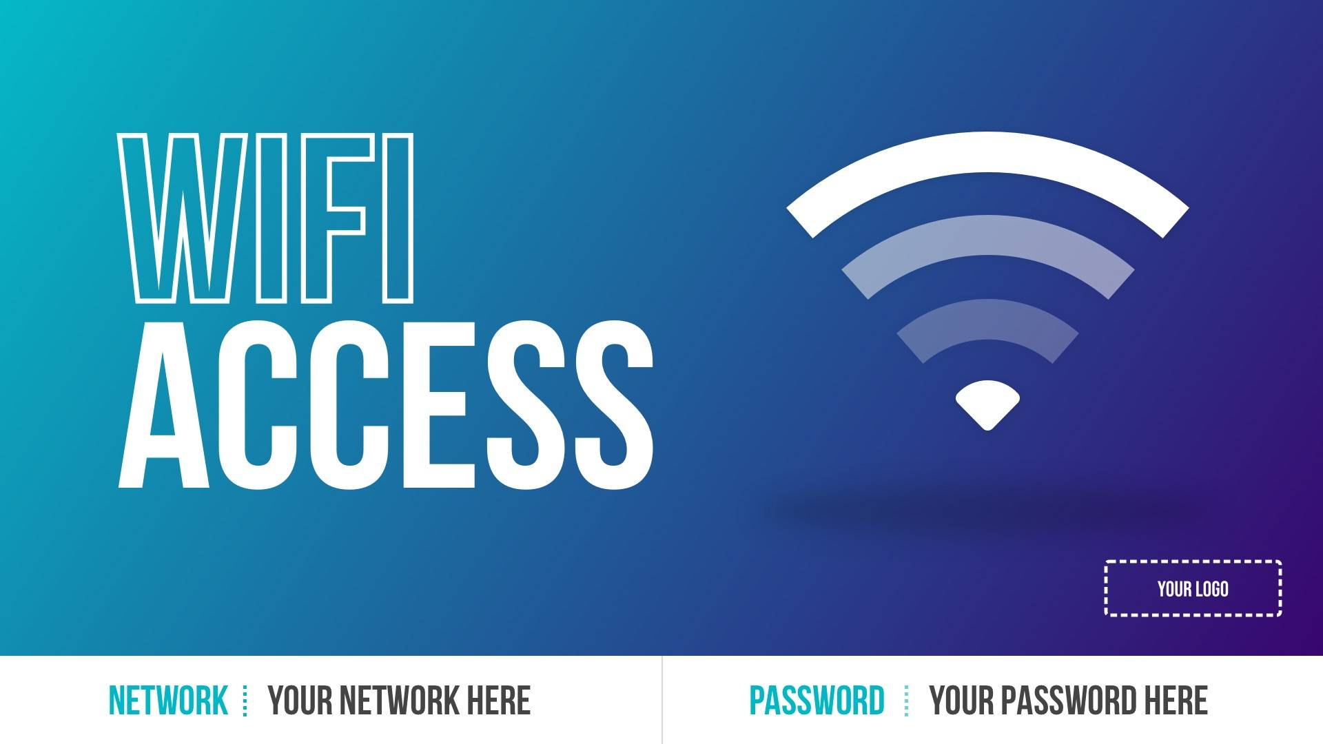 Wifi Access - Network & Password Digital Signage Template