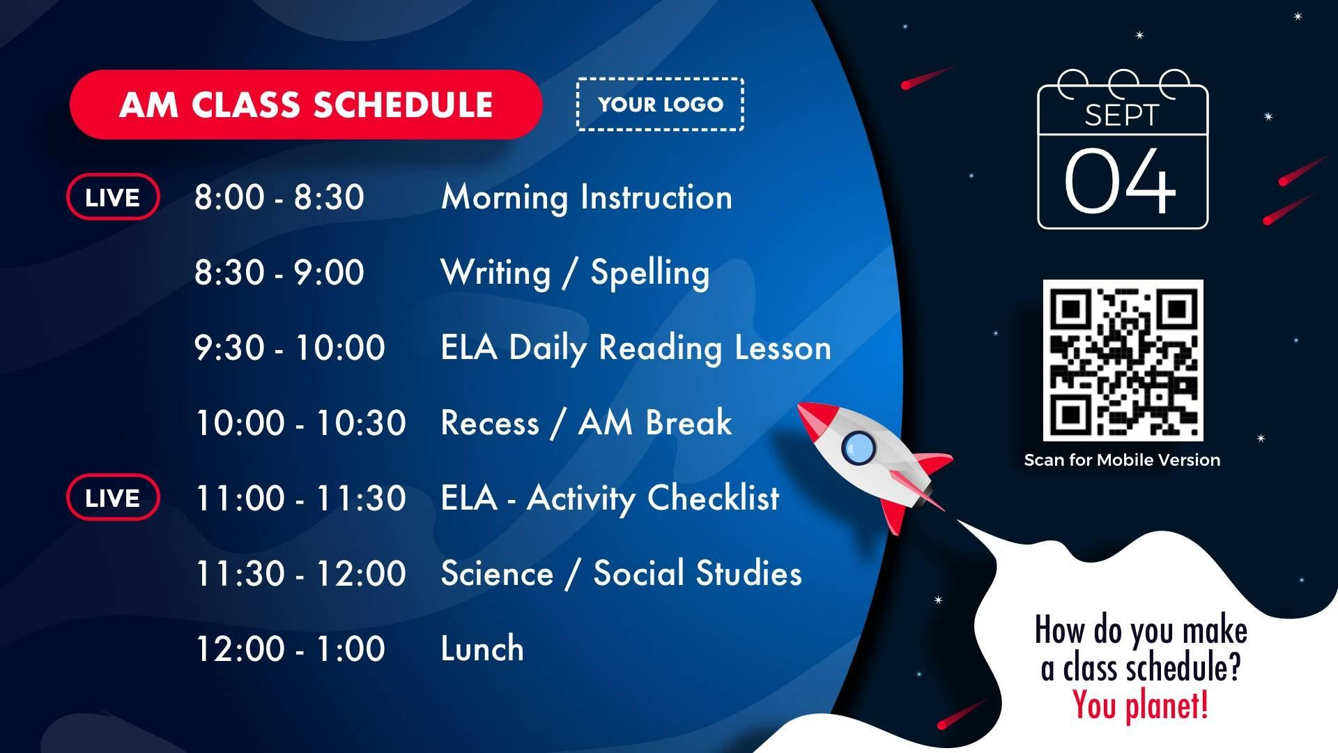 Class Schedule Distance Learning Digital Signage Template