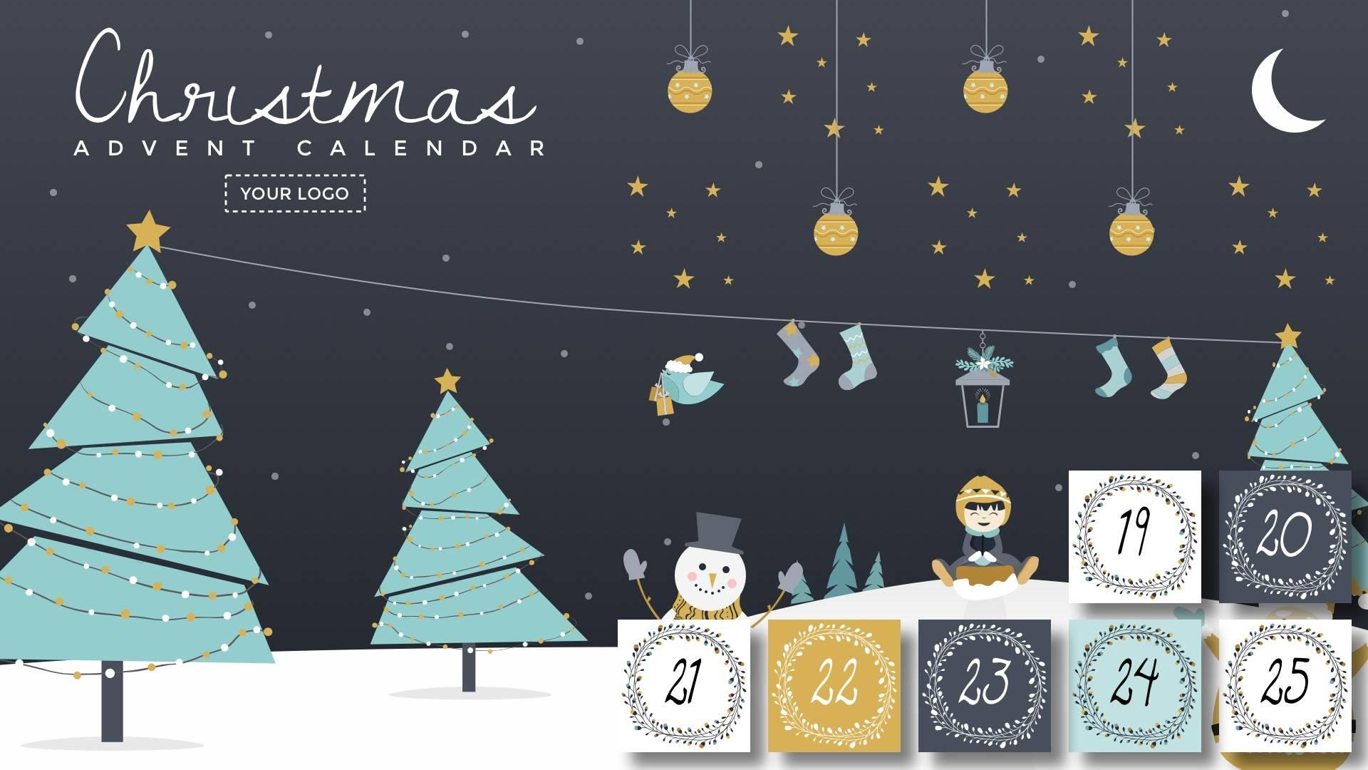 Christmas Advent Calendar Digital Signage Template