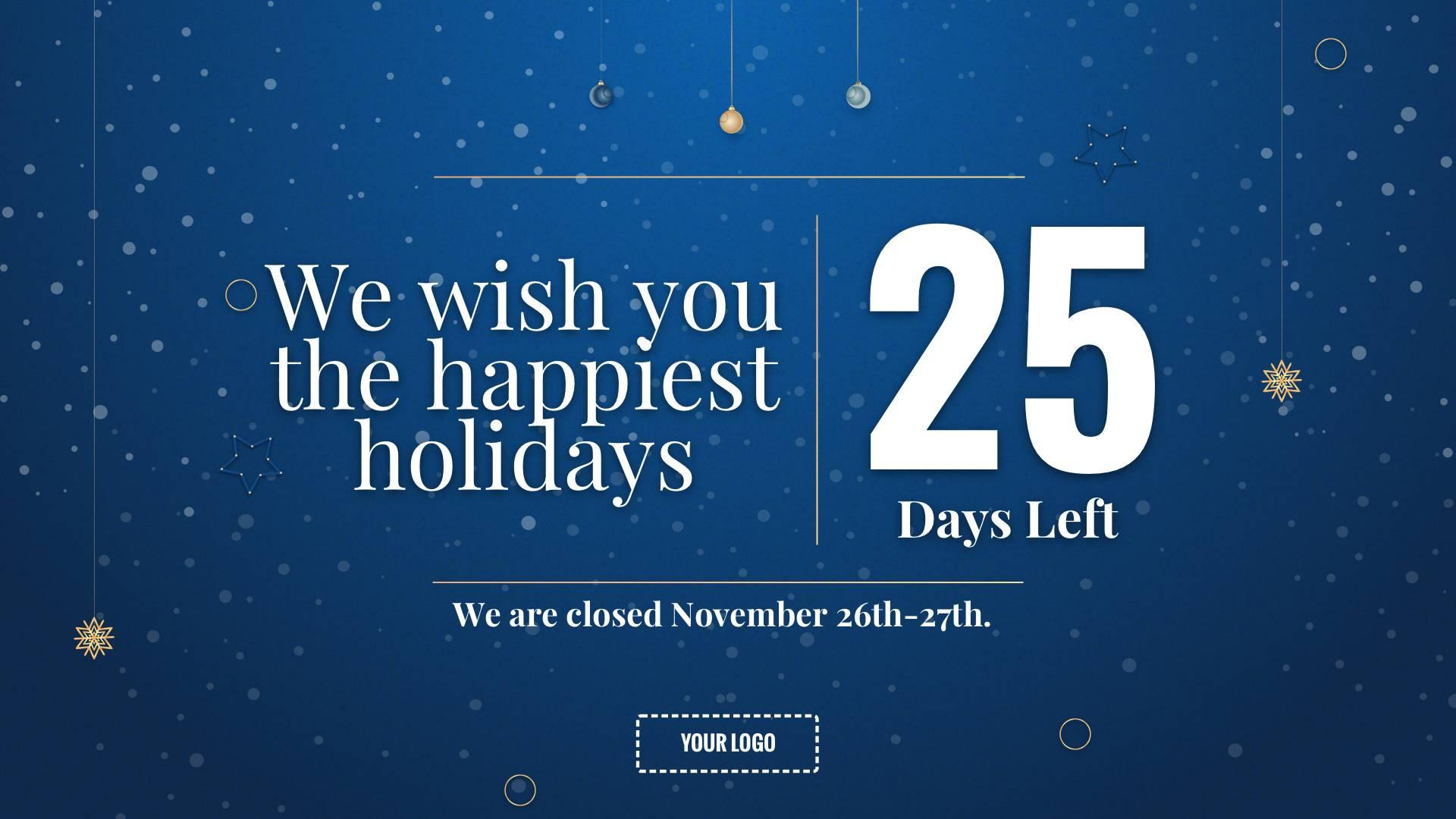 Holiday Countdown Digital Signage Template