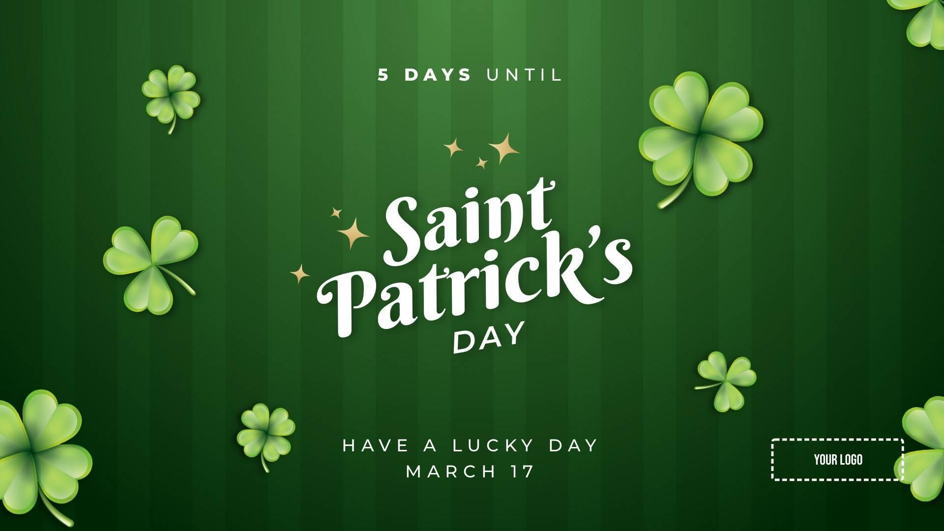 Saint Patrick's Day Countdown Digital Signage Template