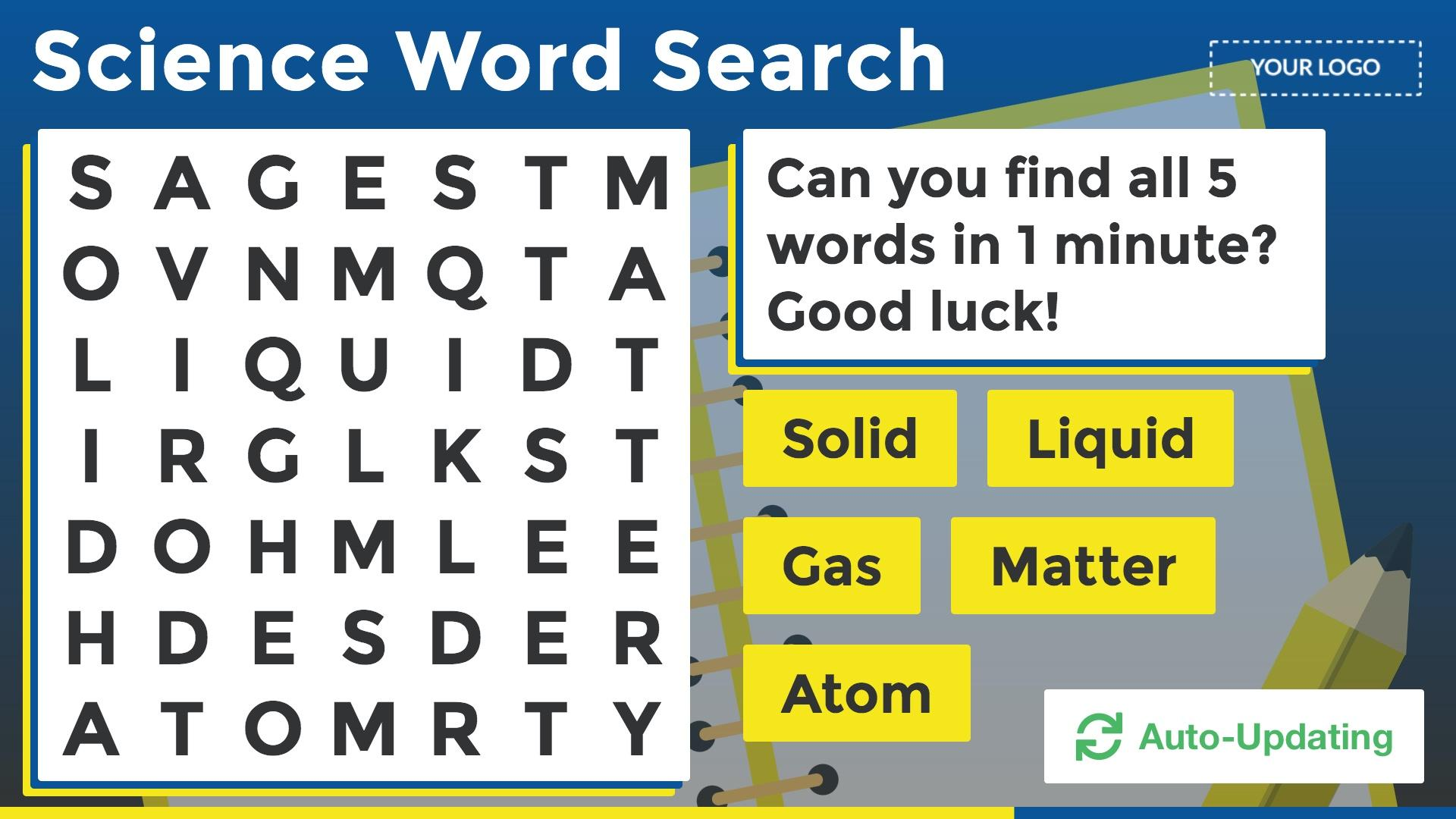 Auto Update Word Search Digital Signage Template