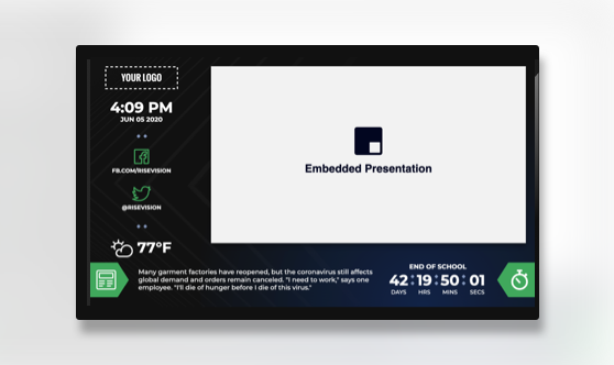 Zoned Countdown Embedded Presentation