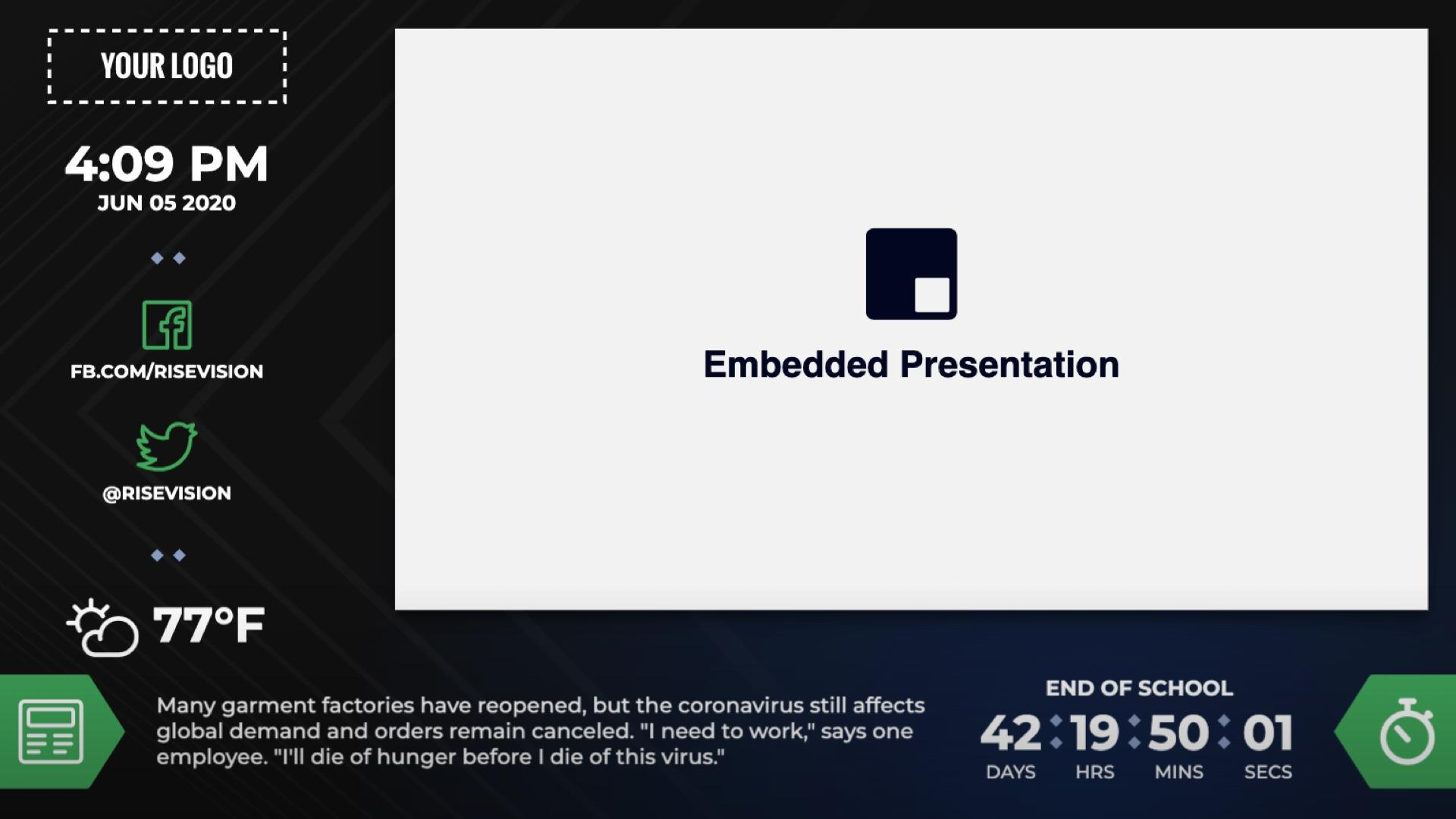 Zoned Countdown Embedded Presentation Digital Signage Template