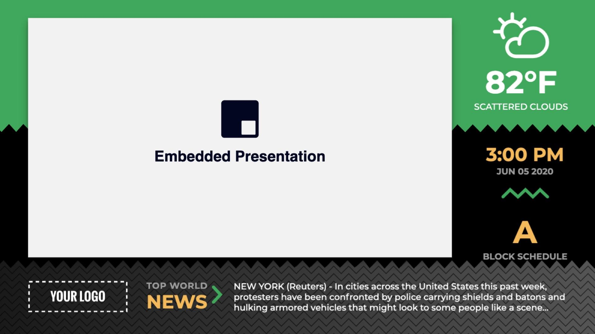 Zoned Sawtooth Embedded Presentation Digital Signage Template