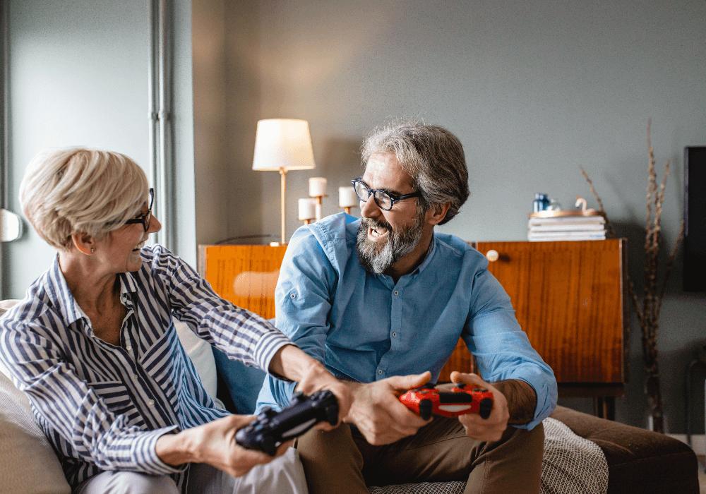 Seniors playing video games   Rising Star Properties