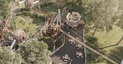 Aerial view of Skelf Island play at Castle Howard