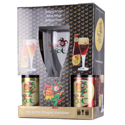 Brugse Zot Gift Set 4x33cl + Glass