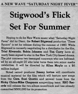 """Stigwood's Flick Set For Summer"" from Radio and Records 1980"