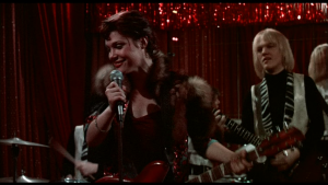 "Robin Johnson as Nicky Marotta as Aggie Doon - frame capture from ""Times Square"" (1980)"