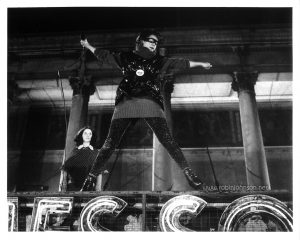 "Robin Johnson as Nicky Marotta leaps into the the air, beginning her performance at the conclusion of ""Times Square"" (1980)."