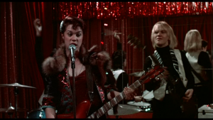 "Aggie Doon (Nicky Marotta [Robin Johnson]) perfoms ""Damn Dog"" - Frame capture from ""Times Square"" (1980)"