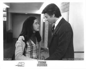 "Publicity still of Trini Alvarado and Peter Coffield from the ""Times Square"" US Press Materials folder.  Text:  (on image) TS-117-13/15 (on border) TIMES SQUARE AFD ©1980 Associated Film Distribution"