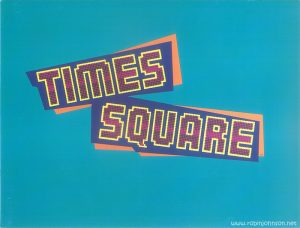 "Designed to be opened one fold at a time, the blue side is a promotional presentation for ""Times Square"" and its soundtrack, and the red side is a full poster."