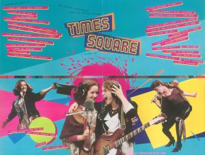 "Designed to be opened one fold at a time, the blue side is a promotional presentation for ""Times Square"" and its soundtrack, and the red side is a full poster. This is the back as it appears unfolded half-way. Text: TIMES SQUARE THE ORIGINAL SOUNDTRACK FROM THE MOTION PICTURE 2 RECORD SET FEATURING MUSIC BY ""ROCK HARD"" - SUZI QUATRO ""TALK OF THE TOWN"" - THE PRETENDERS ""SAME OLD SCENE"" - ROXY MUSIC ""DOWN IN THE PARK"" - GARY NUMAN ""HELP ME!"" - MARCY LEVY & ROBIN GIBB ""LIFE DURING WARTIME"" - TALKING HEADS ""PRETTY BOYS"" - JOE JACKSON ""TAKE THIS TOWN"" - XTC ""I WANNA BE SEDATED"" - THE RAMONES ""DAMN DOG"" - ROBIN JOHNSON ""YOUR DAUGHTER IS ONE"" - ROBIN JOHNSON & TRINI ALVARADO ""BABYLON'S BURNING"" - THE RUTS ""YOU CAN'T HURRY LOVE"" - D.L. BYRON ""WALK ON THE WILD SIDE"" - LOU REED ""THE NIGHT WAS NOT"" - DESMOND CHILD & ROUGE ""INNOCENT, NOT GUILTY"" - GARLAND JEFFREYS ""GRINDING HALT"" - THE CURE ""PISSING IN THE RIVER"" - PATTI SMITH GROUP ""FLOWERS IN THE CITY"" - DAVID JOHANSEN & ROBIN JOHNSON THERE'S NOTHING TO DO BUT PLAY MUSIC AND SCREAM YOUR LUNGS OUT."