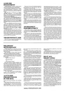 "Page 5 of the Campaign Pressbook for ""Times Square"" from Associated Film Distribution, detailing several ideas for promoting the film: A SOUND INVESTMENT; TRASH WITH FLASH; AN INSANELY INSPIRED PARTY; WILDPOST WITH PIZZAZZ; A STYLISH PROMOTION IS IN THE BAG; DO IT ALL NIGHT LONG. Text: A SOUND INVESTMENT TIMES SQUARE. It sparkles. It sizzles. And it rocks with the hottest music around today! From the defiant rhythms of The Pretenders, The Talking Heads and The Ramones — to the slick sound of Lou Reed — the picture is packed with tunes to turn-on young America. But that's not all! RSO Records is releasing the TIMES SQUARE soundtrack — as a special double album. That means powerhouse promotional support for every engagement from record stores and radio stations nationwide. To spotlight the TIMES SQUARE soundtrack RSO has created special TIMES SQUARE posters, mobiles, racks and bins which will be supplied to major record stores for eye-popping album displays that say one thing: TIMES SQUARE is today's most dazzling entertainment event! Your regional RSO Records publicity representative is as determined to send the TIMES SQUARE soundtrack to the top of the charts as you are to pack every performance. So contact your market's RSO rep and begin a double-barreled effort to spread the sparkle of TIMES SQUARE everywhere. Let him know your promotion plans. Find out what he's doing with radio stations and record stores. Then join forces to make sure that every dee jay and music programmer who reaches the youth market is included in your screening plan —and to implement the record related promotions you'll find in this pressbook. TRASH WITH FLASH There are as many ways to wear garbage bags as there are lights on TIMES SQUARE! You start, of course, by slashing the plastic to accommodate your head and arms. But from that point, you're on your own! Add glitter. Add studs. Wrap silver links or thonged leather belts around the waist. Combine the bags with bandanas, scarves"