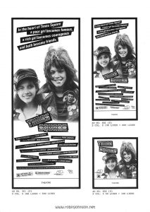 "Page 17 of the Campaign Pressbook for ""Times Square"" from Associated Film Distribution: ""Narrow Column Display Ads"" continued from p. 16; Ads 301(N), 201(N), 202(N) Text (not including poster, which includes a blank space at bottom labeled ""THEATRE""): AD NO. 301 (N) 3 COL. X 166 LINES = 500 LINES AD NO. 201 (N) 2 COL. X 100 LINES = 200 LINES AD NO. 202 (N) 2 COL. X 50 LINES = 100 LINES"