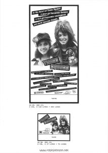 "Page 18 of the Campaign Pressbook for ""Times Square"" from Associated Film Distribution: ""Narrow Column Display Ads"" continued from p. 17; Ads 302(N), 203(N) Text (not including poster, which includes a blank space at bottom labeled ""THEATRE""): AD NO. 302 (N) 3 COL. X 133 LINES = 400 LINES AD NO. 203 (N) 2 COL. X 37 LINES = 75 LINES"