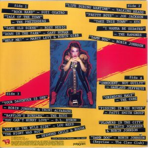 "The back cover of the Canadian edition of the ""Times Square"" soundtrack album. Text: Side 1 ""ROCK HARD"" - SUZI QUATRO ""TALK OF THE TOWN"" - THE PRETENDERS"" ""SAME OLD SCENE"" - ROXY MUSIC ""DOWN IN THE PARK"" - GARY NUMAN ""HELP ME!"" - MARCY LEVY & ROBIN GIBB Side 2 ""LIFE DURING WARTIME"" - TALKING HEADS ""PRETTY BOYS"" - JOE JACKSON ""TAKE THIS TOWN"" - XTC ""I WANNA BE SEDATED"" - THE RAMONES ""DAMN DOG"" - ROBIN JOHNSON Side 3 ""YOUR DAUGHTER IS ONE"" - ROBIN JOHNSON & TRINI ALVARADO ""BABYLON'S BURNING"" - THE RUTS ""YOU CAN'T HURRY LOVE"" - D.L. BYRON ""WALK ON THE WILD SIDE"" - LOU REED ""THE NIGHT WAS NOT"" - DESMOND CHILD & ROUGE Side 4 ""INNOCENT, NOT GUILTY"" - GARLAND JEFFREYS ""GRINDING HALT"" - THE CURE ""PISSING IN THE RIVER"" PATTI SMITH GROUP ""FLOWERS IN THE CITY"" - DAVID JOHANSEN & ROBIN JOHNSON ""DAMN DOG"" — ROBIN JOHNSON (Reprise - The Cleo Club) Album Executive Producer: Bill Oakes RSO® Records, Inc. ℗ 1980 Multiplier N.V. © 1980 Butterfly Valley N.V. ALL RIGHTS OF THE PRODUCER AND OF THE OWNER OF THE WORK REPRO- DUCED RESERVED. UNAUTHORISED COPYING; HIRING; LENDING; PUBLIC PER- FORMANCE AND BROADCASTING OF THIS RECORD PROHIBITED. MANUFAC- TURED BY POLYGRAM INC. AND DISTRIBUTED BY POLYGRAM DISTRIBUTION INC., 6000 COTE DE LIESSE, ST-LAURENT, QUEBEC H4T 1E3 - MADE IN CANADA DISTRIBUTION PolyGram (This digital surrogate created by Sean Rockoff for robinjohnson.net.)"