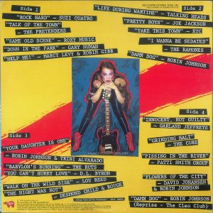 "The back cover of the UK edition of the ""Times Square"" soundtrack differs from the US edition in the small print, and most notably mistitles ""Flowers In The City"" as ""Flowers Of The City."" Text: RSO SUPER DOUBLE 2658 145 *Also available on Cassette 3524 222 Side 1 ""ROCK HARD"" - SUZI QUATRO ""TALK OF THE TOWN"" - THE PRETENDERS"" ""SAME OLD SCENE"" - ROXY MUSIC ""DOWN IN THE PARK"" - GARY NUMAN ""HELP ME!"" - MARCY LEVY & ROBIN GIBB Side 2 ""LIFE DURING WARTIME"" - TALKING HEADS ""PRETTY BOYS"" - JOE JACKSON ""TAKE THIS TOWN"" - XTC ""I WANNA BE SEDATED"" - THE RAMONES ""DAMN DOG"" - ROBIN JOHNSON Side 3 ""YOUR DAUGHTER IS ONE"" - ROBIN JOHNSON & TRINI ALVARADO ""BABYLON'S BURNING"" - THE RUTS ""YOU CAN'T HURRY LOVE"" - D.L. BYRON ""WALK ON THE WILD SIDE"" - LOU REED ""THE NIGHT WAS NOT"" - DESMOND CHILD & ROUGE Side 4 ""INNOCENT, NOT GUILTY"" - GARLAND JEFFREYS ""GRINDING HALT"" - THE CURE ""PISSING IN THE RIVER"" PATTI SMITH GROUP ""FLOWERS OF THE CITY"" - DAVID JOHANSEN & ROBIN JOHNSON ""DAMN DOG"" — ROBIN JOHNSON (Reprise - The Cleo Club) Album Executive Producer: Bill Oakes RSO® Records, Inc. © 1980 Butterfly Valley NV This Compilation ℗ 1980 MULTIPLIER N.V. Record manufactured and distributed in the U.K. by Polydor Ltd., 17-19 Stratford Place, London, W1N 0BL. Copyright exists in all records issued by Polydor Ltd. Any unauthorised broadcasting, public performance, copying or re-recording in any manner whatsoever will constitute an infringement of such copyright. Application for public performance license should be addressed to: Phonographic Performance Lyd., Ganton Street, London, W1V 2LB."