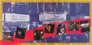 "The inner gatefold of the US edition of the ""Times Square"" Original Motion Picture Soundtrack Text: Produced by ROBERT STIGWOOD AND JAC0B BRACKMAN Directed by ALAN MOYLE An EMI Release ROBERT STIGWOOD Presents ""TIMES SQUARE"" Starring TIM CURRY TRINI ALVARADO and Introducing ROBIN JOHNSON as Nicky With PETER COFFIELD HERBERT BERGHOF DAVID MARGULIES ANNA MARIA HORSFORD Costumes Designed by ROBERT deMORA Production Designer STUART WURTZEL Story by ALAN MOYLE AND LEANNE UNGER Screenplay by JACOB BRACKMAN Edited by TOM PRIESTLEY Executive Producers KEVIN McCORMICK JOHN NICOLELLA Associate Producer BILL OAKES Director of Photography JAMES A. CONTNER"