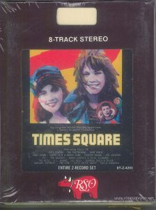 "The 8-track edition of the ""Times Square"" soundtrack split some of the songs across its programs, and lacked most of the cover art from the LP version. Text: 8-TRACK STEREO RSO"