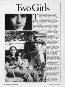 "Millinaire, Caterine. ""Two Girls."" Fashion article about Robin Johnson and Trini Alvarado. Text: Two Girls Triini Alvarado is thirteen. She neither smokes nor drinks nor swears. Robin Johnson is sixteen. She has, on occasion, been known to do all of these things. Trini is a familiar face. We've seen her on Broadway in Runaways and onscreen in Rich Kids. Robin has never acted before. She was ""discovered"" by a casting scout on the steps of Brooklyn Tech. An unlikely pair? Perhaps. But the two, who become fast friends in Robert Stigwood's 42nd Street fantasy Times Square, have also become friends in real life. The characters they portray—Pamela Pearl, the shy, sheltered, vulnerable daughter of a New York City official, and Nicky Marotta, an angry, outrageous, vulnerable street kid— survive by their wits in the shadowy world of Times Square, eventually becoming minor celebrities as the singing ""Sleaze Sisters."" ""The story is ridiculous,"" says Trini, ""yet so full of great human friendship and warm feelings!"" As these pages show, each girl has a personal sense of style. But their taste is tame compared with the hot couture they wear onscreen—a surreal New York-bag lady-goes-to-Disneyland amalgam of thrift-shop rejects, torn doilies, long johns, even belted plastic garbage bags, all designed by Bob DeMora. ""I would never step out in Woodside looking like that,"" says Trini. During the filming, the stars' outré outfits often provoked remarks from prostitutes. But the worst thing, they say, was having to keep up with their schoolwork. Between shots, they studied with a tutor, in a trailer on Times Square. Did their nerves ever wear thin? ""Me and Trini,"" says Robin, ""we got pissed off at each other very little.""—Caterine Milinaire 78 NEW YORK/NOVEMBER 3, 1980 Photographed by Caterine Milinaire."