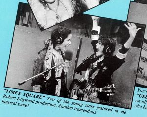 "Image of Trini Alvarado and Robin Johnson from the two-page center spread promoting all the Columbia-Warner-EMI movies opening in the beginning of 1981. [photo caption:] ""TIMES SQUARE"" Two of the young stars featured in the Robert Stigwood production. Another tremendous musical score!"