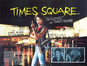 "An edit of the Cummins illustration from the UK movie poster, with two different B&W stills. The ""Cummins"" signature is edited out. Text: TIMES SQUARE AA ""GO SLEAZE!"" ...IN TIMES SQUARE ROBERT STIGWOOD Presents ""TIMES SQUARE"" Starring TIM CURRY·TRINI ALVARADO And Introducing ROBIN JOHNSON Also Starring PETER COFFIELD·HERBERT BERGHOF·DAVID MARGULIES ANNA MARIA HORSFORD Executive Producers KEVIN McCORMICK·JOHN NICOLELLA Directed by ALAN MOYLE Produced by ROBERT STIGWOOD and JACOB BRACKMAN·Screenplay by JACOB BRACKMAN Story by ALAN MOYLE and LEANNE UNGER Associate Producer BILL OAKES An EMI-ITC Production Soundtrack available on RSO Records and TAPES RSO Released by COLUMBIA-EMI-WARNER Distributors Limited. EMI A Member of the THORN EMI Group. This copyright advertising material is licensed and not sold and is the Property of National Screen Service Ltd. and upon completion of the exhibition for which it has been licensed it should be returned to National Screen Service Ltd. PRINTED IN ENGLAND BY W. E. BERRY LTD. BRADFORD"