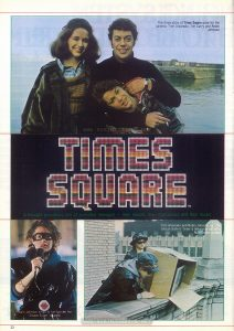 "First page of feature article on ""Times Square"" in the January 1981 ""Film Review""; three color photos. Text: The three stars of Times Square pose for the camera: Trini Alvarado, Tim Curry and Robin Johnson TIMES SQUARE™ A thought-provoking tale of alienated teenages -- their moods, their mad antics and their music Robin Johnson sings to her fans in her Sleaze Sister apparel Trini Alvarado and Robin Johnson as ""The Sleaze Sisters"" lever a television set off a Manhattan rooftop"