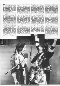 "Illustrated article on TIMES SQUARE. Text: Two runaway teenage girls, a variety of New Wave rock music and a grimy, pristine backdrop of New York make up the ingredients of Times Square (an EMI release), Robert Stigwood's latest offering to a youthful cinema-going public. Robin Johnson, a spunky 15-year-old newcomer, plays with admirable bravado the central role of Nicky, a street urchin with destructive inclinations and a yen for musical stardom. In hospital for psychiatric tests, Nicky finds herself in the company of Pamela Pearl (played by Trini Alvarado — from Robert Altman's Rich Kids), an introverted 12-year-old from a privileged background, also in for tests. Despite their opposing upbringings, the two run away together — from the System that oppresses them both — to lead an exuberant, retaliatory existence on the streets. It is this slight story-line that makes up the canvas for a gritty but heart-warming story of today's youth, their problems, their qualities, their understandable misgivings and denied intelligence. They make mistakes — like every young generation before them — but this breed is growing up faster than ever before. Canadian director Alan Moyle, making his American film debut after a string of successful films and documentaries over the border, conjures up a realistic atmosphere to his scenes beyond the call of Hollywood duty — to the extent you sometimes feel you are watching the runaway duo for real. Moyle cleverly intercuts his footage with shots of genuine Times Square coke snorters, back street alcoholics, Eighth Avenue prostitutes and pimps, and all the fun of the New York fair. For the climactic sequence he even managed to close 42nd Street's ""Deuce"" (a notorious strip of theatres and porno cinemas) for the first time in New York film location history. Between all this he concentrates his camera almost lovingly on the adventures of Johnson and Alvarado, who have meanwhile taken their anti-establishment hostilities one step further, adopting a dual identity and calling themselves The Sleaze Sisters Not without point! Under this guise, wearing outrageous costumes pieced together from jumble outcasts and dustbin liners, they tear through the streets of New York begging for money, in their spare time levering tv sets — the ultimate symbol of the bourgeoisie — from the top storeys of Manhattan's skyscrapers. It is this singular prank that arouses the interest of the public, and in particular that of a late-night Times Square DJ, played with laid-back relish by England's own Tim Curry, late of ""The Rocky Horror Show"". Providing The Sleaze Sisters with even greater coverage on New York's air waves, narrating their boardwalk escapades and even allowing them to sing their protests, DJ Johnny LaGuardia becomes the catalyst in Moyle's story. Like the DJ Curry played on television in ""City Sugar"", LaGuardia reaches out from the night to the receptive, confused soul of a young girl wanting, desiring an intimate liaison with an established anti-establishment voice. Here, Curry has two souls to contend with and, even though he is trying to help them and gain public sympathy (by this time the police are now hot on their trail), he is at the same time exploiting them, exploiting their isolation from society, the society which eventually they come to need. So, Times Square turns out to be many things: an exciting, abrasive look at the uglier face of New York; a compassionate tale of two desperate runaways who find mutual friendship encountering a common enemy; and a musical featuring some of the finest New Wave sounds around, including contributions from The Pretenders, Lou Reed and Suzi Quatro. But for all Moyle's perspicacious and sensitive direction, it is young Robin Johnson's performance that dominates the film. With an off-beat beauty all her own, and an engaging rasping singing voice, Ms Johnson has enough female virility to fill many films yet, and is already pencilled in for the sequel to Grease."