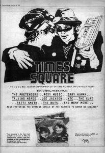 "Advertisement for the ""Times Square"" soundtrack album on page 32 of the Jan. 24, 1981 ""Record Mirror."""
