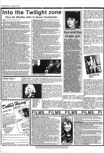 """Page 8 of the Jan. 24, 1981 """"Record Mirror,"""" containing a bad review of """"Times Square."""""""