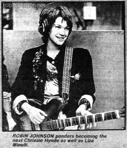 "Still of Robin Johnson as Nicky from ""Times Square""  with caption, from Record Mirror, 31 Jan. 1981, p. 7 -  Image digitized for ROBINJOHNSON.NET"