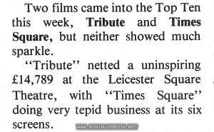 """The box office totals for the previous week. Relevant text: Page 2—Screen International Saturday 24th January 1981 LONDON BOX OFFICE By Chris Brown IT WAS once again a week when cinema-goers stuck to the tried and true rather than paying to see new releases in the West End. Two films came into the Top Ten this week, Tribute and Times Square, but neither showed much sparkle. """"Tribute"""" netted a uninspiring £14,789 at the Leicester Square Theatre, with """"Times Square"""" doing very tepid business at its six screens."""