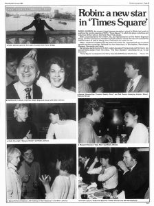 """Screen International No 276, January 24, 1981, p. 23.  The photo-illustrated article on Robin Johnson's trip to London appears to be an advertisement.  Text:  Saturday 24th January 1981 Screen International —Page 23 • Robin Johnson gets her first sight of London from Tower Bridge. • David Land (co-deputy chairman, Robert Stigwood Group) with Robin Johnson. • Molly Plowright (""""Glasgow Herald"""") and Robin Johnson. • Glenys Roberts (freelance), John Coleman (""""New Statesman"""") and Robin Johnson. Robin: a new star in 'Times Square' ROBIN JOHNSON, the screen's latest teenage sensation, arrived in Britain last week to publicise the London opening of EMI's """"Times Square"""" in which she plays a rebellious girl who lives off her wits on the harsh New York streets. Robin, accompanied by her mother, Ida, and representatives of The Robert Stigwood Group, the film's producers, attended a special luncheon where she met and charmed the national critics as well as taking part in interviews for radio and TV. After a weekend of sightseeing the party left London for a promotional tour to attend special preview screenings, followed by more interviews, in Birmingham, Manchester, Glasgow, Newcastle and Leeds. Her abrasive performance in the film, which also stars Trim Alvarado and Tim Curry, has earned Robin acclaim from the critics, """"The New Standard"""" describing her as """"a real discovery"""". """"Times Square"""" is released in the UK by Columbia-EMI-Warner Distributors. Photos: PIC • Denise Silvester-Carr (""""London Weekly Diary"""") and Rod Gunnar (managing director, Robert Stigwood Group). • Margaret Hinxman (""""Daily Mail"""") and Robin Johnson. • Kenelm Jenour (""""Hollywood Reporter""""), Robin Johnson and Bill Hall (freelance). Advt."""